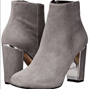 Dune London round toe ankle suede bootie